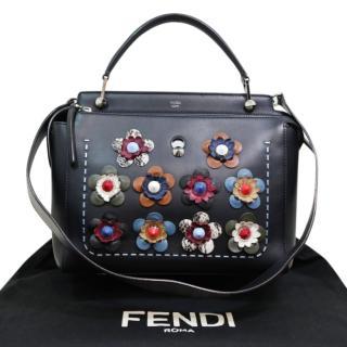 Fendi Floral Applique Black Dotcom Bag