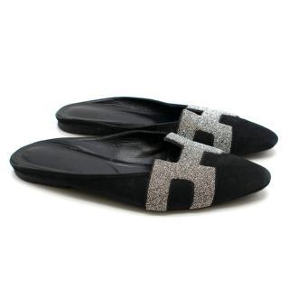 Hermes Black Suede Silver H Flat Mules