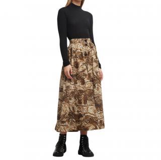 Ganni Graphic Print Button Down Maxi Skirt