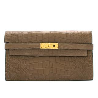 Hermes Alligator Mississippiensis Taupe Kelly Long Wallet