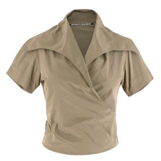 Monica Bianco Khaki Short Sleeve Wrap Top