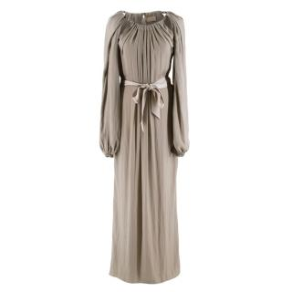 Lanvin Khaki Silk Blend Draped Chain Detail Dress