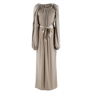 Lanvin Khaki Silk Blend Draped Chain Detail Dress