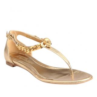 Alexander McQueen Metallic Gold Skull Sandals