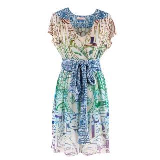 Matthew Williamson Printed Silk Belted Dress