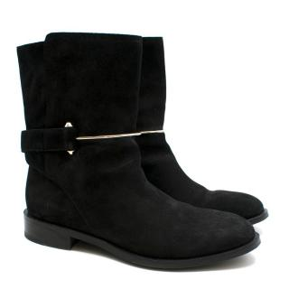 Balenciaga Black Suede Bar Buckle Detail Boots