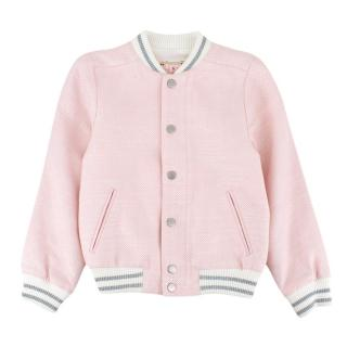 Bonpoint Pink Tweed Bomber Jacket