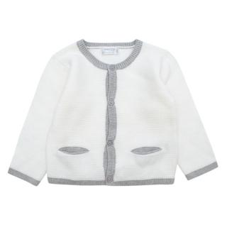 Mayoral New Born White and Grey Cardigan