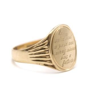 Annina Vogel 9kt Gold Engraved Oval Signet Ring