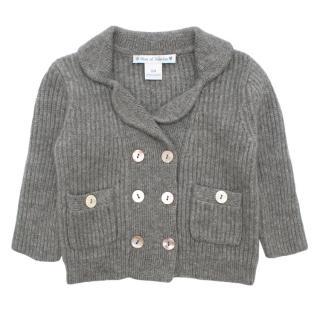 Oscar Et Valentine 9M Grey Shawl Knit Cardigan