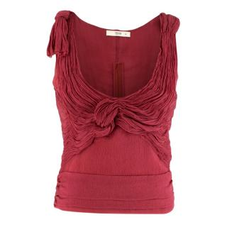 Prada Red Sleeveless Pleated Scoop Neck Top