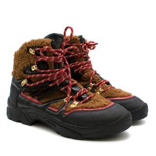 Stella McCartney Flat Shearling Lace-Up Boots