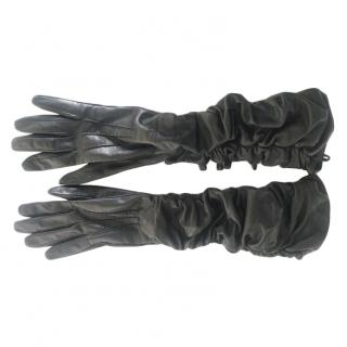Valentino long soft black leather bow detail gloves