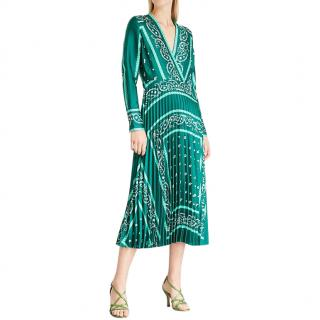 Sandro green paisley print satin twill midi dress