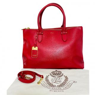 Ralph Lauren Red Leather Tote Bag
