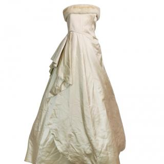 Escada Couture Champagne Silk Gown W/ MInk Fur Trim