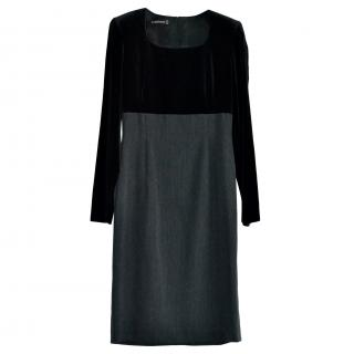 Louis Feraud vintage black wool & velvet pencil dress