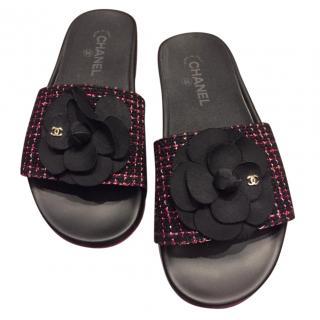 Chanel Tweed Camellia Embellished Sandals