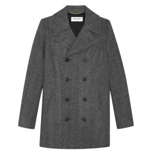 Saint Laurent black and grey wool chevron caban coat