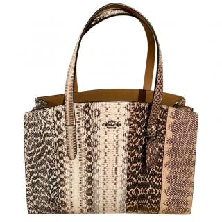 Coach large embossed python tote bag