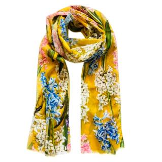 Dolce & Gabbana Yellow Silk Wrap Scarf