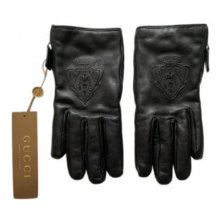 Gucci Black Leather Embroidered Gloves
