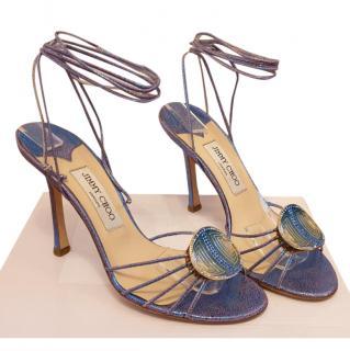 Jimmy Choo Blue Embellished Lace-Up Sandals