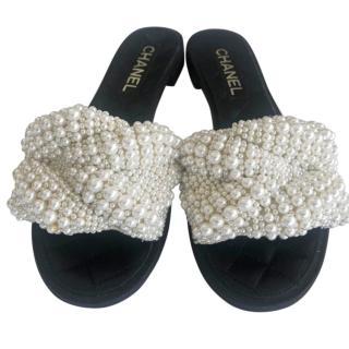 Chanel Faux Pearl & Lambskin Slides