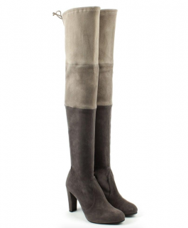 Stuart Weitzman Troika Grey Suede Colour Block Over Knee Boots