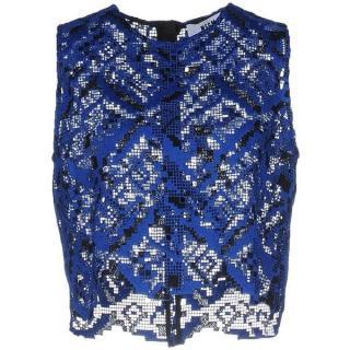 MSGM Blue Lace Crochet Crop Top