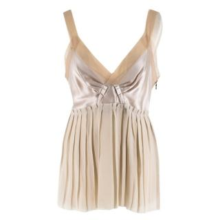 Lanvin Beige Sleeveless Pleated Silk Top