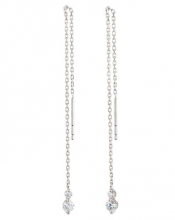 Dinny Hall White Gold Shuga Double Diamond Chain Drop Earrings