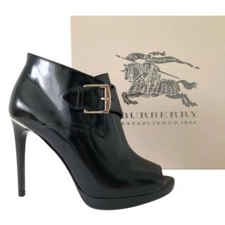 Burberry Black Patent Leather Peep-Toe Ankle Boots
