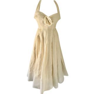Donna Karen Cream Hemp Blend Ballerina Tea Dress