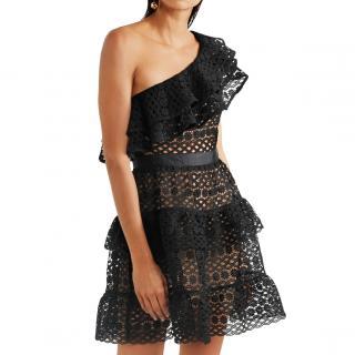 Self-Portrait guipere lace one-shoulder mini dress
