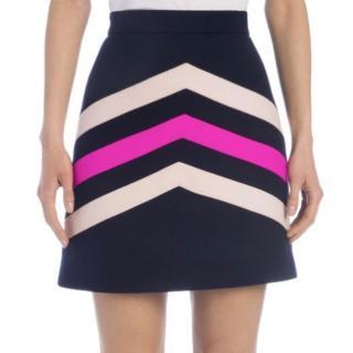 MSGM Pastel Stripe Wool Blend Mini Skirt