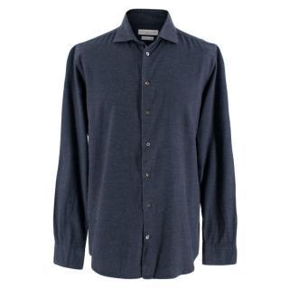 Richard James Savile Row Navy Shirt In Hopsack