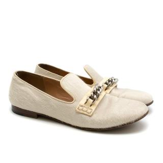 Celine White Pony Hair Chain Loafers