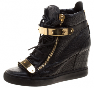Giuseppe Zanotti Black Croc Embossed Leather Lorenz Wedge Sneakers