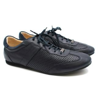 Balmain Blue Perforated Leather Sneakers