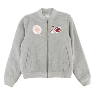 Stella McCartney 14Yr Grey Swan Applique Bomber Jacket