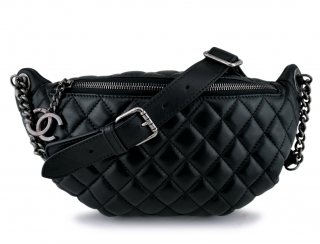 Chanel Black Lambskin Banane Waist Bag