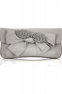 Chloe grey leather embellished clutch