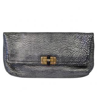 Lanvin Silver Crackled Leather Clutch Bag