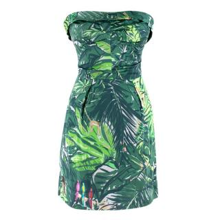 Louis Vuitton Green Floral Satin Bustier Dress