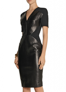 Roland Mouret Nabis paneled leather & crepe dress