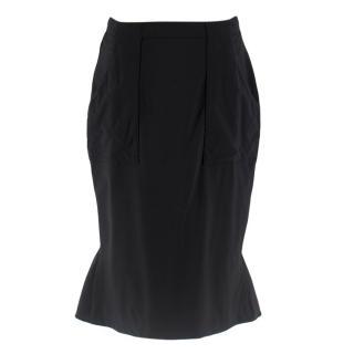 Altuzarra Black Wool Blend Ruffle Back Skirt