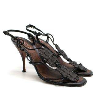 Alaia Brown Crocodile Strappy Leather Sandals