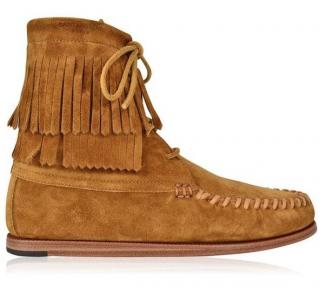 Saint Laurent Suede Fringe Moccasin Boots