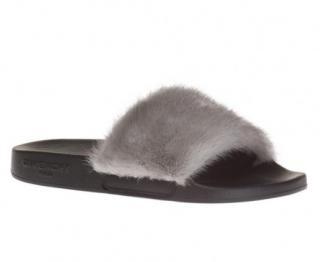 Givenchy Grey Mink Fur Slides